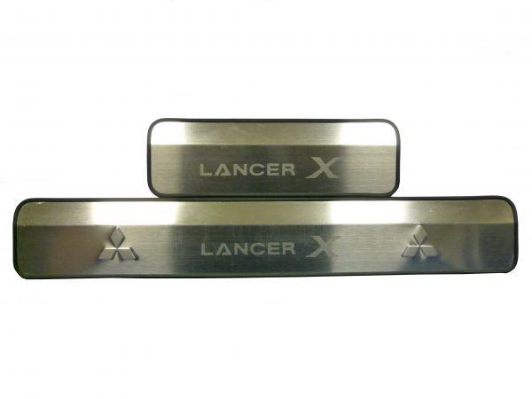 Накладки на пороги без подсветки Мицубиши Лансер Х/Mitsubishi Lancer X