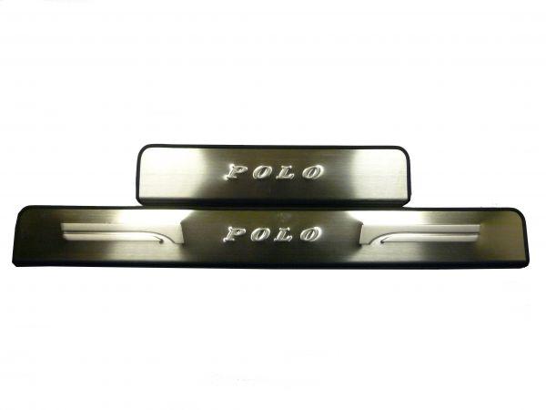 Накладки на пороги без подсветки Фольксваген Поло 2009/Volkswagen Polo 2009